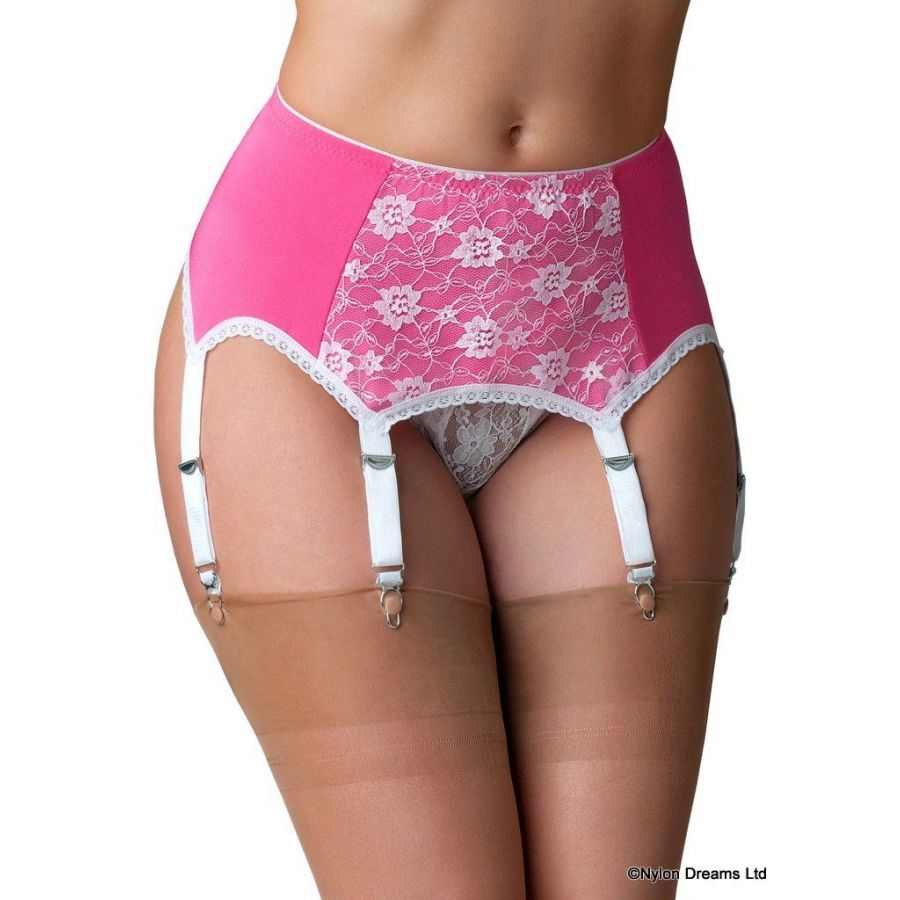 Nylon Dreams Pink Suspender Belt With Lace Front Panel Edged In White Lace