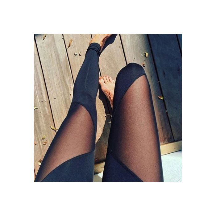 Mesh Splice Yoga Pants Sports Breathable Chic Leggings